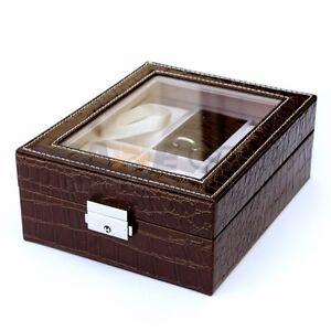 4 Slot Leather Watch Box Display Ring Organizer Jewelry Storage - Coffee Brown