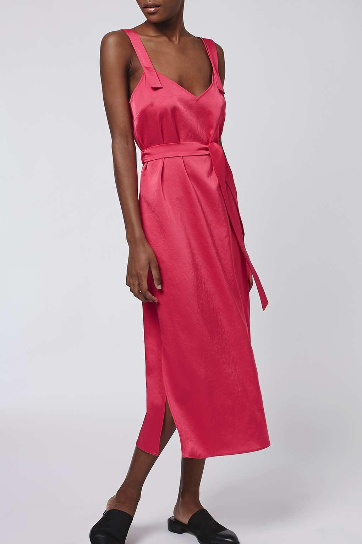 Topshop BOUTIQUE BNWT Fuchsia Pink Hammered Satin Silky Slip Dress