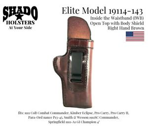 SHADO Leather Holster USA Elite Model 19114-143 Right Hand IWB Brown 1911 Colt