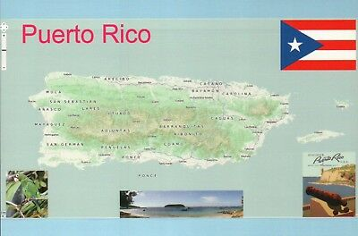 Map of Puerto Rico, Caribbean Island, San Juan, Flag Beach Cannon etc -  Postcard | eBay
