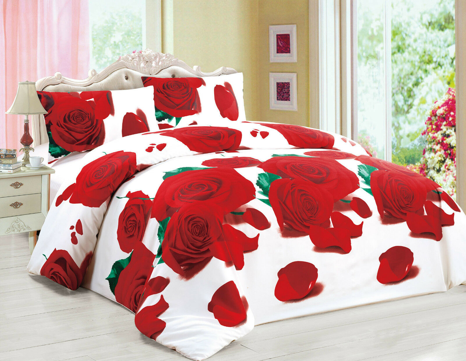 3d Effect 4 Pcs Duvet Covers With Fitted Sheet Bedding Set