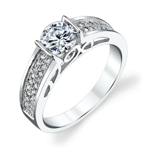 NEW Sterling Silver CZ Engagement Wedding Ring Set with 1 Carat Cubic Zirconia