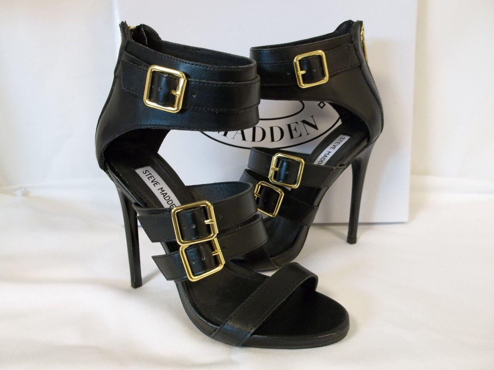 Steve Madden 7.5 M Madlyn Madlyn Madlyn Negro Cuero Puntera abierta Tacones nuevo Zapatos para mujer  servicio honesto