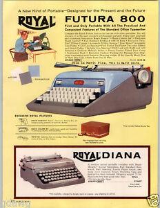 1962 PAPER AD Royal Futura 800 Portable Typewriter Diana COLOR