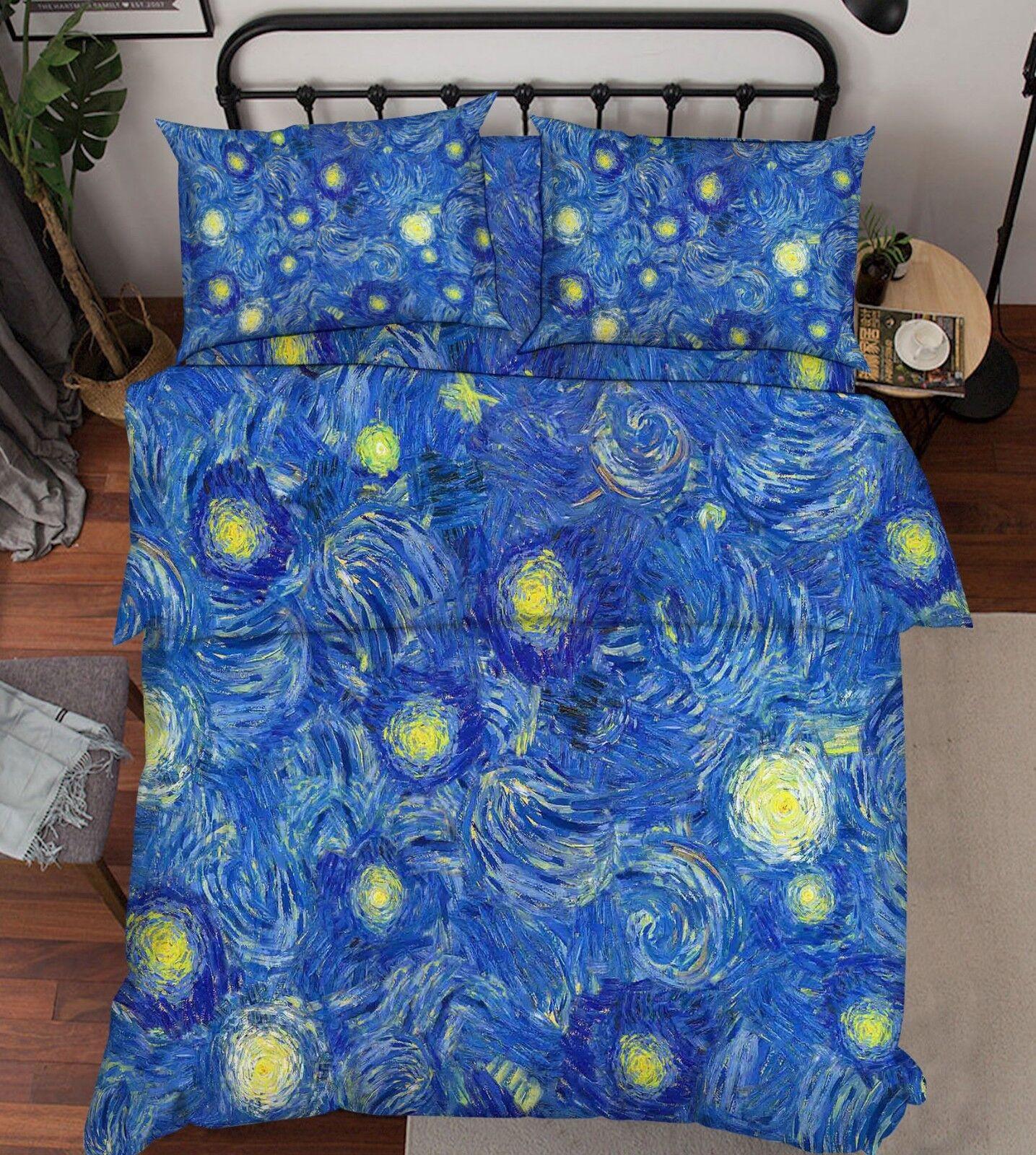 3D Oil Painting Sun 8 Bed Pillowcases Quilt Duvet Cover Set Single King UK Lemon