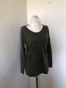 Eileen-Fisher-XS-merino-wool-crew-neck-pullover-long-sleeve-sweater-Khaki-NWOT
