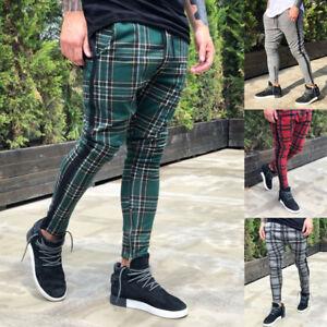 Fashion Men S Stylish Casual Plaid Pants Slim Fit Zipper Trousers