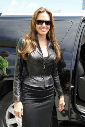 Femmes Veau W671 en Celebrity Pour Julie en Peau Veste New de Angelina Biker Cuir pzMqSVU