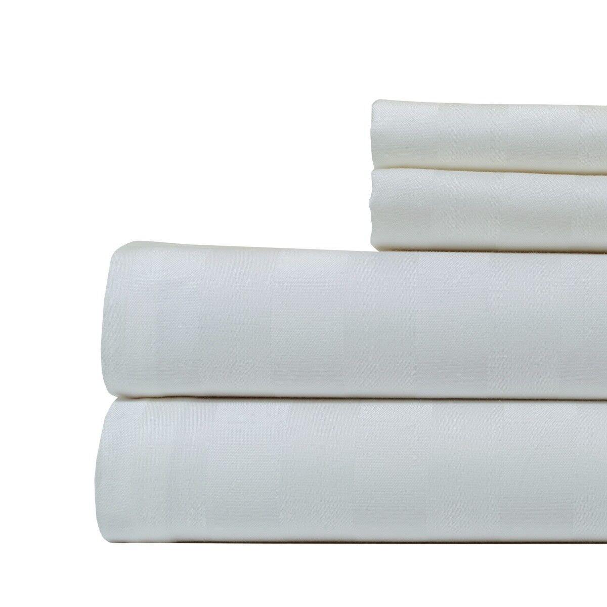 Aspire Linens Cotton 500 Thread Damask Stripe 4 Piece Sheet Set - Queen - White