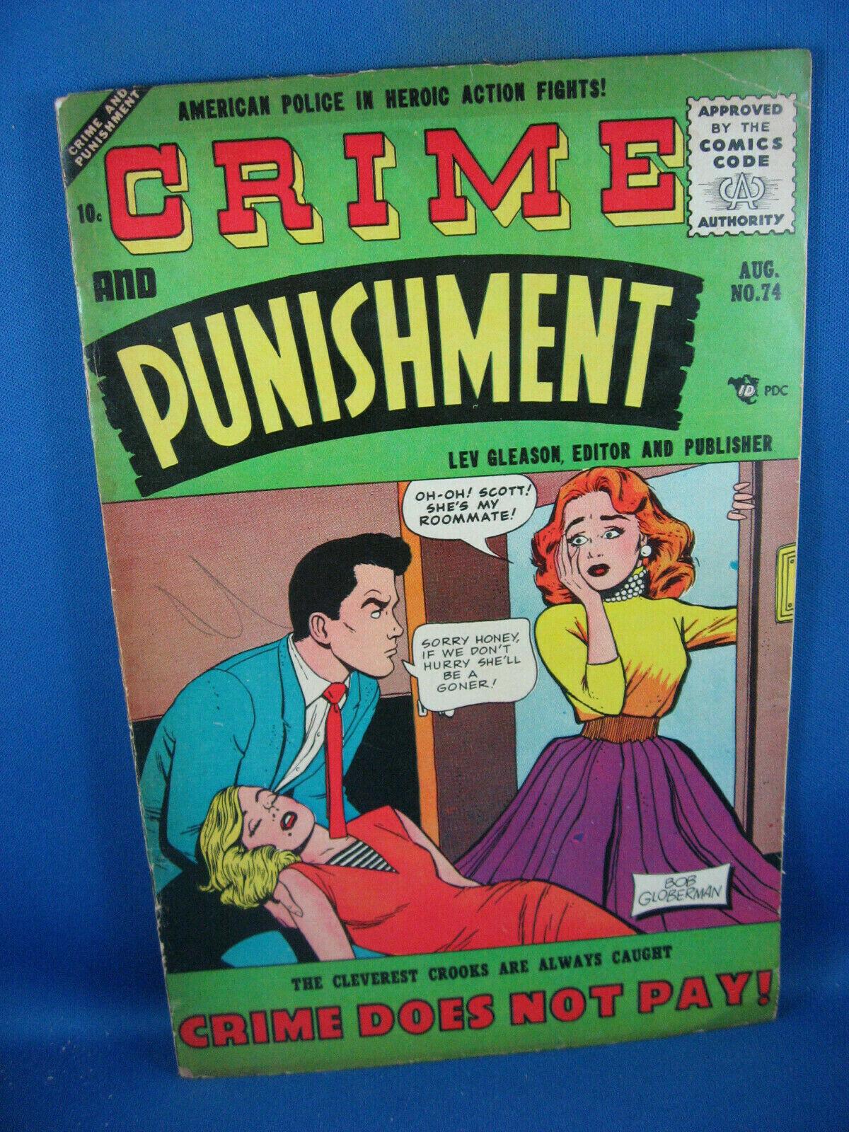 CRIME AND PUNISHMENT 74 VG F LEV GLEASON 1955