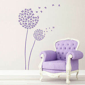c16eff06f Image is loading Wall-Tattoos-Wall-Stickers-Spring-Flowers -Dandelion-Butterfly