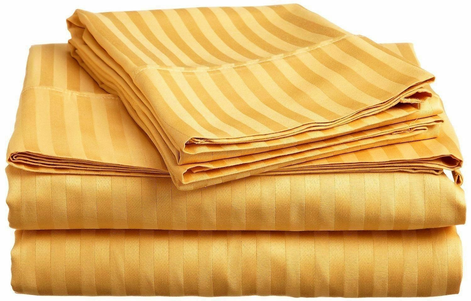 US 6 PC Sheet Set gold Striped Select Size 1000 Thread Count Egyptian Cotton