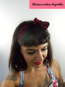 Bandeau-foulard-retro-rigide-maleable-cordon-fil-de-fer-velours-couleur-au-choix