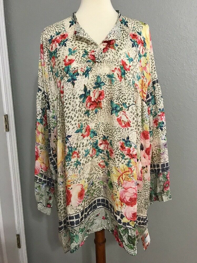 NEW Johnny Was Anita Silk Floral Printed Tunic Top L