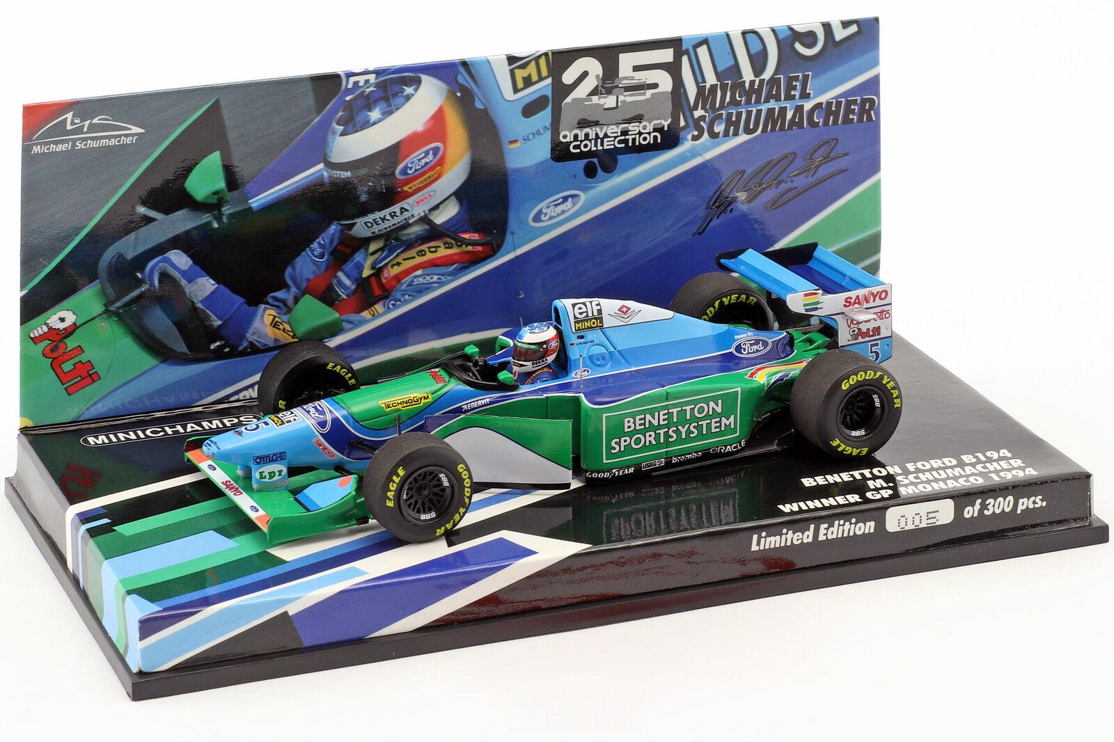 M. Schumacher benetton b194 champion du monde Monaco GP Formule 1 1994 1 43 Minichamps