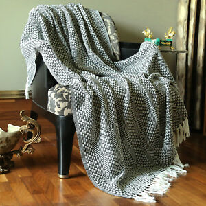 Cotton-Gray-Tassel-Throw-Woven-Soft-Warm-Throw-Blanket-Reversible-50-x-60-inches