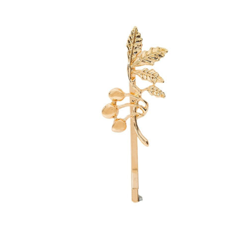 Clip latéral en épingle à cheveux feuille d/'érable en alliage doré pour fille