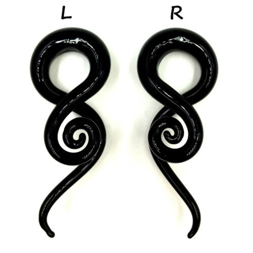 TWIST VERRE Ear hanger poids Jauges Spirale Cône Oreille Tunnel Plugs Piercing