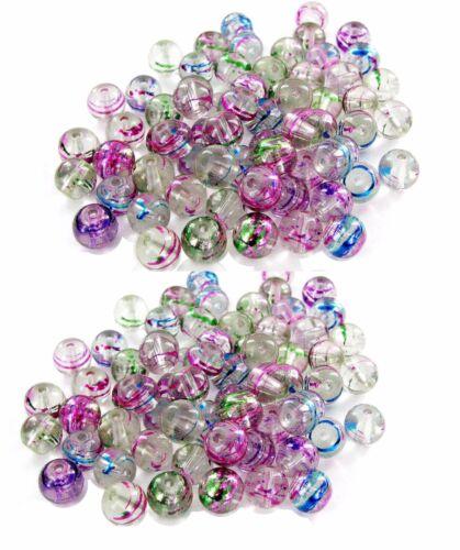 Silver Swirl Round 8mm Glass Beads DIY Jewelry DIY making 60 pcs