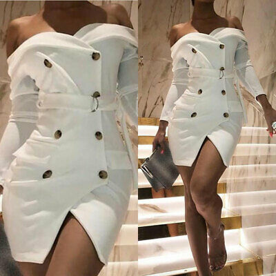 Sexy White Off Shoulder Belt Blazer Dresses Women Party Elegant