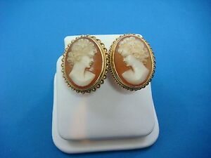 Image Is Loading Rare 14k Yellow Gold Vintage Cameo Earrings 7