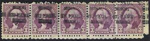 1932-3c-Washington-precancel-720-L-14-strip-of-5-from-ST-PAUL-MN-UNCOMMON