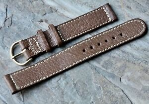 Classic-contrasting-stitching-Genuine-Pigskin-16mm-vintage-watch-band-1940-1950s