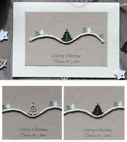 5x Beautiful Personalised Handmade Christmas Cards + envelope, made in GB