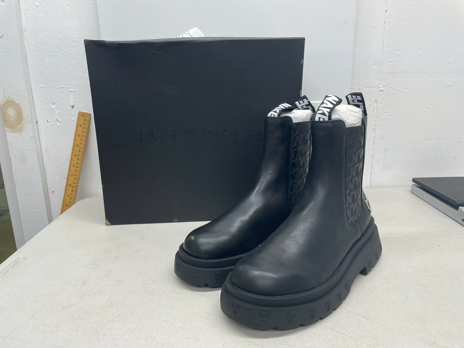 Naked Wolfe Men's Caution Boots - Black Leather - US Size 11