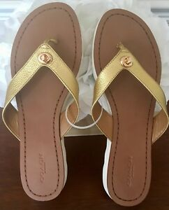 251d584141aa NWT COACH Flip Flop Sandal In Shelly - Gold Leather   White Sole ...