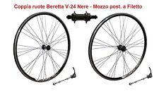 """Coppia Ruote 28"""" Beretta V-24 in Alluminio Nero a Filetto per Bici Corsa Vintage"""