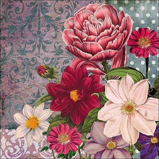 Walter Robertson  Floral Bounty Keilrahmen-Bild Leinwand Blaumen bunt modern