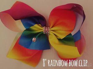 8 Huge Big Rainbow Bow Hair Clip Ribbon Dance School Gem 70dRD