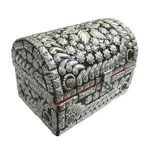 Coffret-a-bijoux-pierres-d-039-agates-argentees-15x10x10cm-Boite-de-rangement