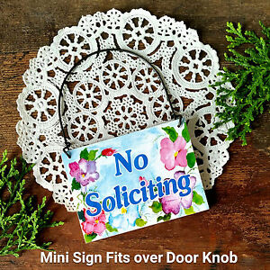 NO SOLICITING SIGN Use on door knob / doorbell Solicit Mini Signs Ornament