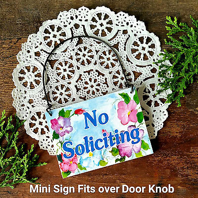 NO SOLICITING SIGN Use on door knob doorbell Solicit DECO Mini Signs Ornament
