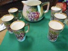 """Outstanding Vintage USONA """"Goodwin"""" Pottery LEMONADE JUG & 6 Glasses-Handpainted"""