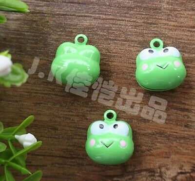 10pcs Brass Green Frog Head Jingle Sound Bells Pendant Charms DIY Accessories