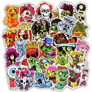 50 Pcs Horror Stickers for Luggage Laptop Skateboard Bicycle