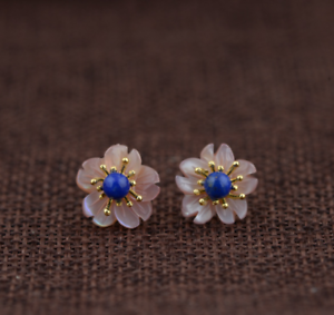 B11 Ohrring Stecker Perlmutt bunt mit Lapis Lazuli Sterling Silber 925 vergoldet