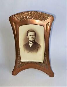 Jugendstil Tischrahmen Fotorahmen Kupfer um 1910, mit Foto - H:15 cm