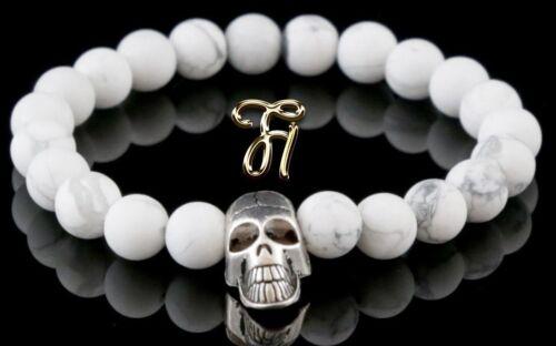 HOWLITH blanc mat 8 mm Bracelet Perles Bracelet Argenté Tete de mort skull