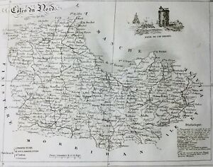 Côtes d'Armor en 1836 Rare Carte Cap Frehel Paimpol Perros Guirec Corlay Pleneuf