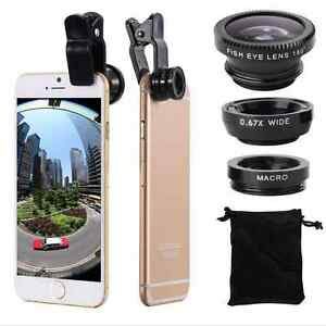 3 in 1 Fish Eye + Wide Angle Micro Lens Camera Kit for iPhone 5 4 6S 6 Plus