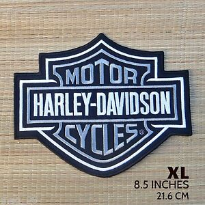 Harley-Davidson-Classic-Silver-Logo-Sew-on-Patch-XL
