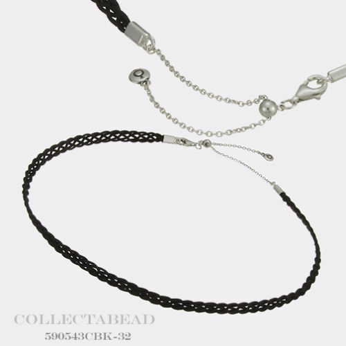 13552f561 Authentic PANDORA Silver Black Woven Fabric Choker Necklace 12.5