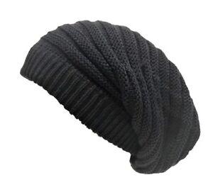f21270884ea Rasta Beanie Hat Long Slouch Ribbed Dark Grey Baggy Marley Reggae ...