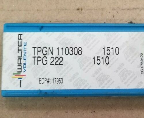 Lot of 10 Walter Valenite TPGN110308 TPG222 1510 Carbide Inserts