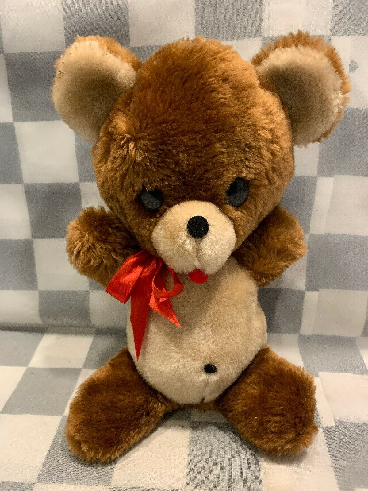 Vintage Brown Teddy Bear 12  Plush Animal Fair Win Up Musical Stuffed Toy