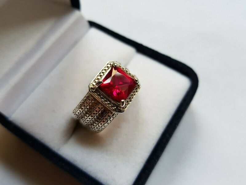 BA391 Sterling Silver Red Stone Ring